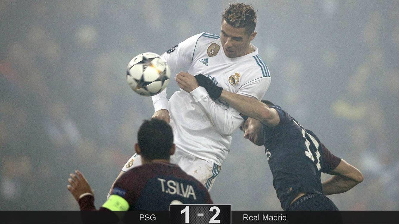 Foto: Cristiano, en el remate del gol. (EFE)