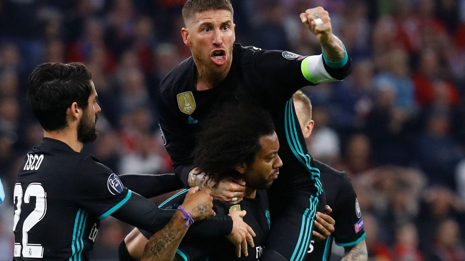 Foto: Los jugadores del Real Madrid celebran el 1-1 de Marcelo ante el Bayern. (Reuters)