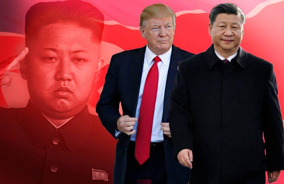 Foto: Los presidentes Donald Trump y Xi Jinping y la figura cuya sombra planeará sobre el encuentro, el norcoreano Kim Jong-Un. (Montaje: C. Castellón)