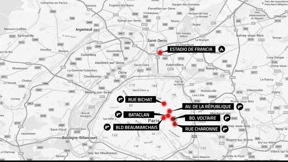 La ubicación de los siete atentados de París
