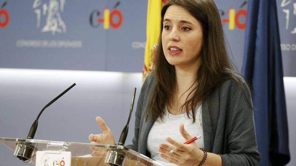 Foto: La portavoz parlamentaria de Podemos, Irene Montero, durante una rueda de prensa este jueves en el Congreso de los Diputados. (EFE)