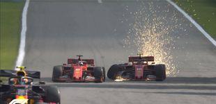 Post de El suicidio de Ferrari: cuando Sebastian Vettel y Charles Leclerc acaban a palos