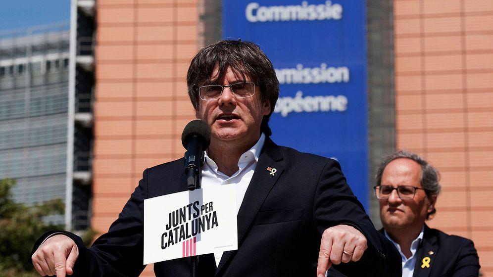 Foto: Rueda de prensa de Carles Puigdemont en Bruselas. (EFE)