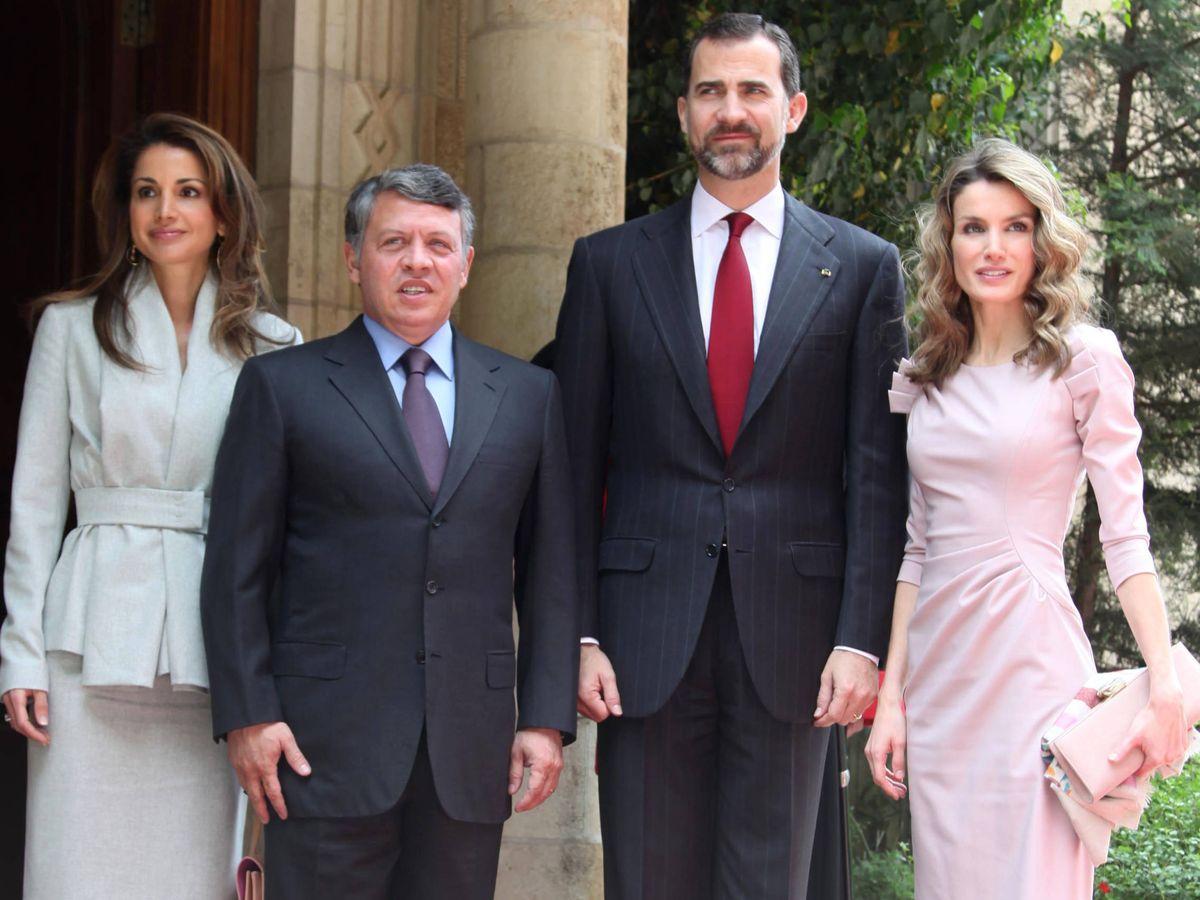 Foto: Don Felipe y doña Letizia, con los reyes de Jordania. (Getty)
