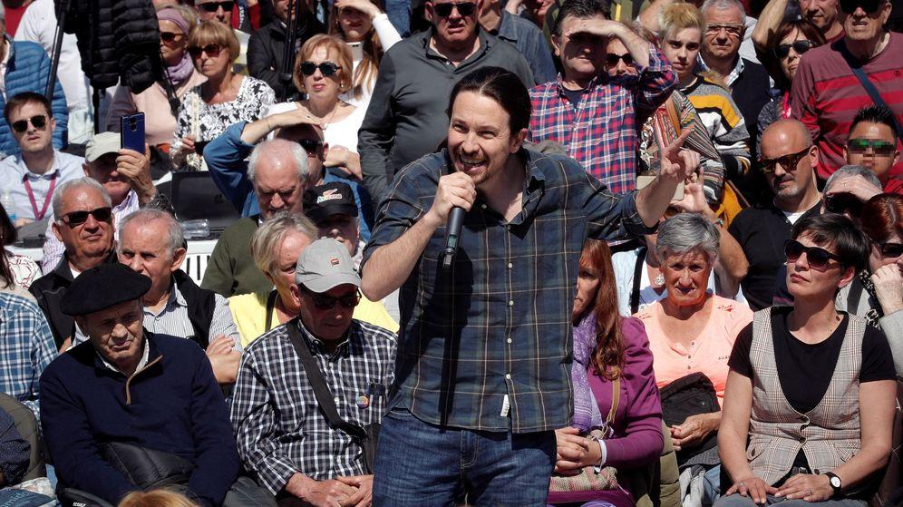 Foto: El secretario general de Podemos y candidato de Unidas Podemos a la presidencia del Gobierno, Pablo Iglesias, en un acto de campaña en Pamplona. (EFE)