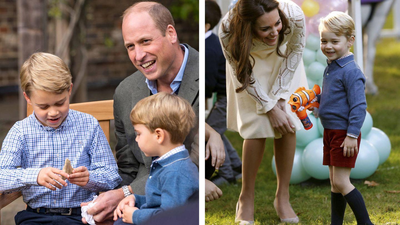 El príncipe Louis hace unos días (izquierda) y el príncipe George en 2016. (Palacio de Kensington / Reuters)