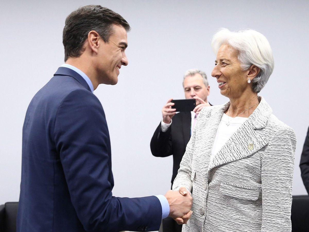 Foto: Pedro Sánchez, con Christine Lagarde. (EFE)