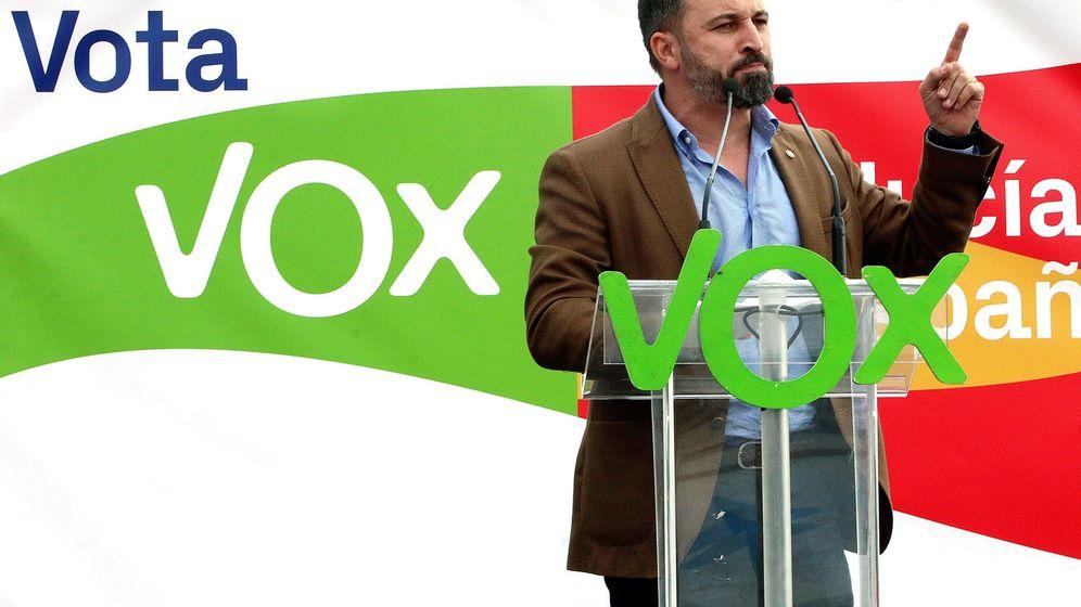 Foto: Santiago Abascal, en el acto de Vox ayer en Málaga. (EFE)