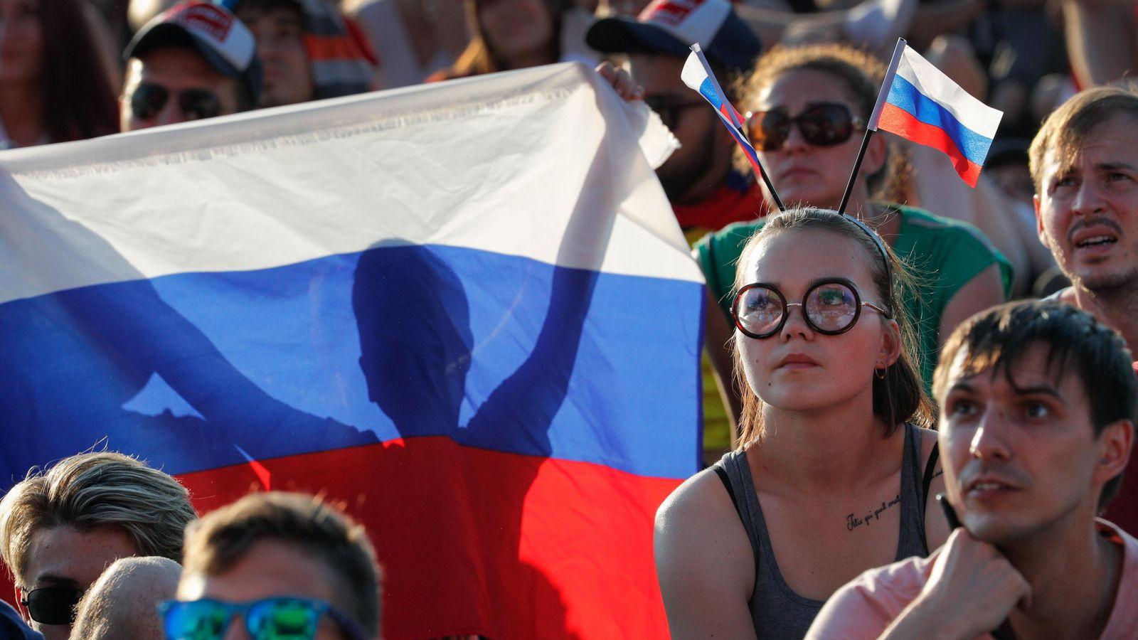 Foto: Aficionados de Rusia animan a su selección en el Mundial 2018   EFE