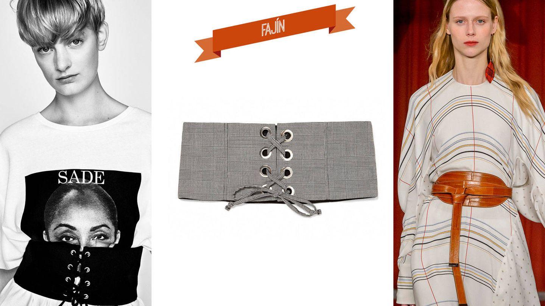Corsé elástico sobre camiseta de Zara (17,95 €). Fajín de cuadros de Zara (15,95 €). Desfile de Roksanda.