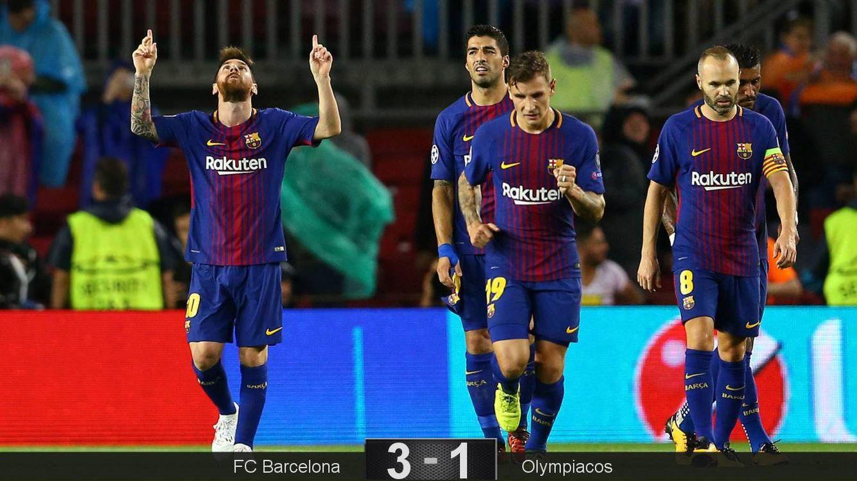 Foto: Messi celebra su gol en el FC Barcelona-Olympiacos de Champions League. (Reuters)