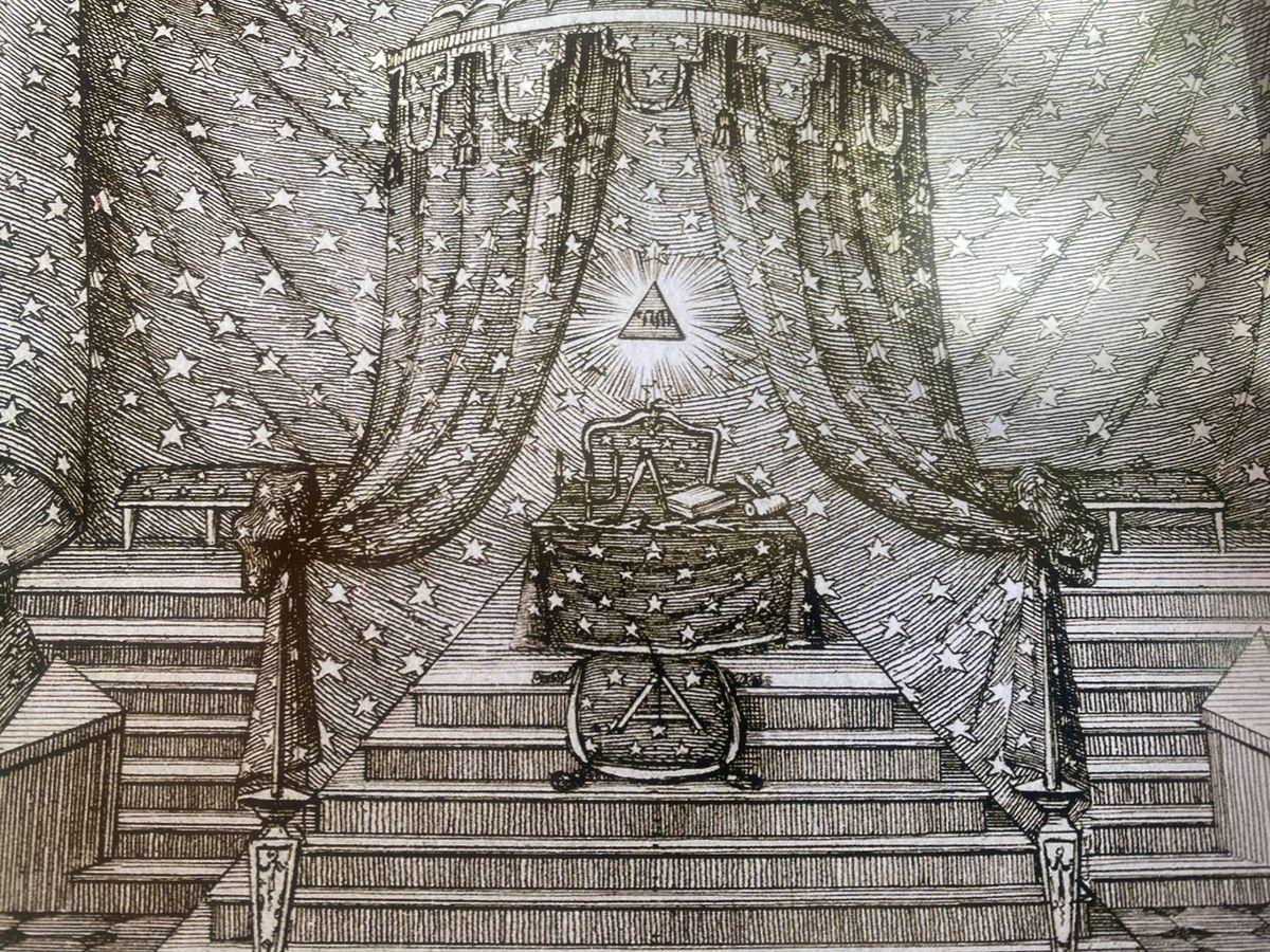 Foto: Grabado de una logia publicado en 'El reglamento del masón'. (Biblioteca del Gran Oriente de Francia)