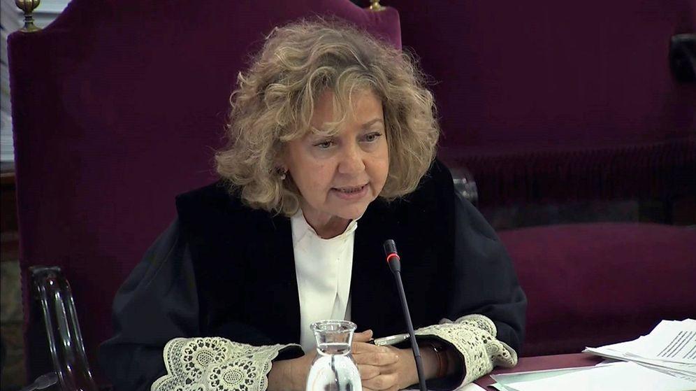 Foto: Imagen tomada de la señal institucional de Tribunal Supremo con la intervención de la fiscal general del Estado, Consuelo Madrigal. (EFE)
