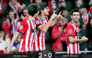 Alfombra roja del BATE en la despedida del Athletic de la Champions