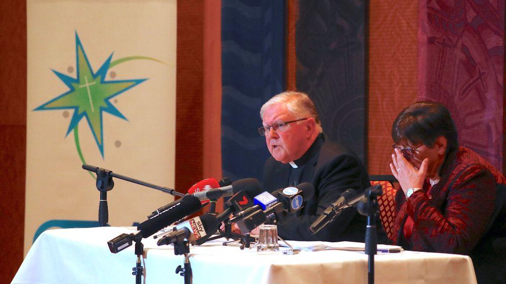 Foto: El arzobispo católico Mark Coleridge, presidente de la Conferencia Episcopal de Australia, durante una rueda de prensa en Sidney, el 31 de agosto de 2018. (Reuters)