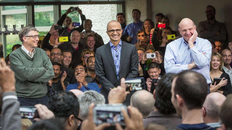 Bill Gates, Satya Nadella y Steve Ballmer (Reuters)