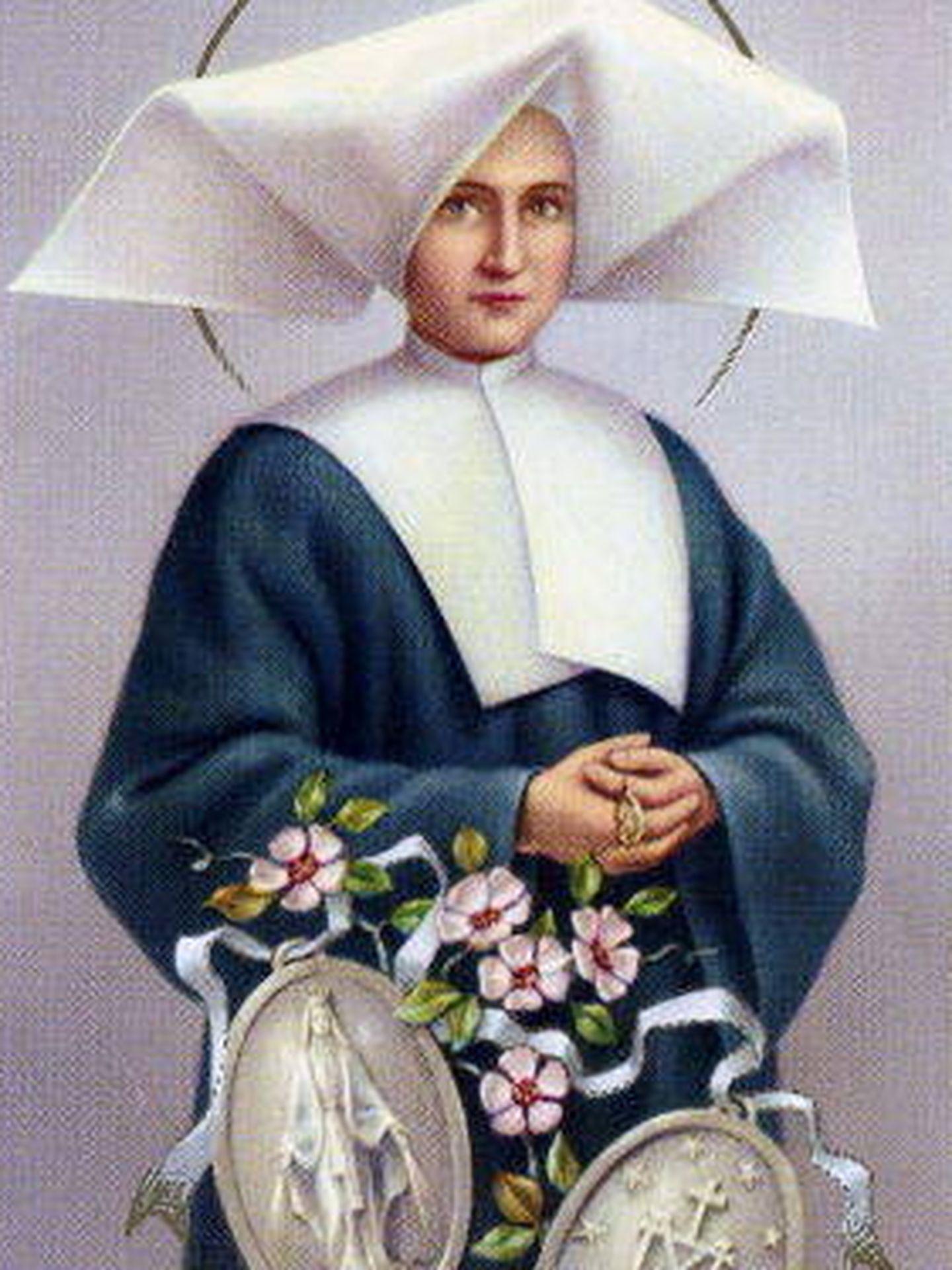 Imagen de la santa Catalina Labouré con la medalla (C.C)