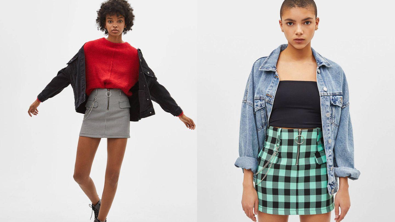Faldas de cuadros en Bershka (9,99€).