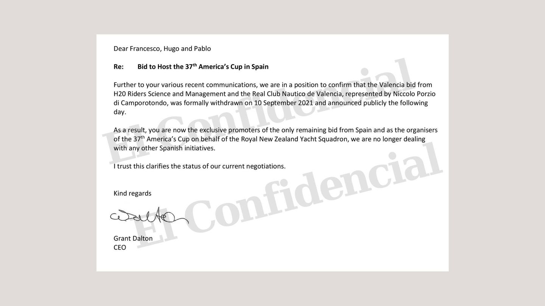 Carta de Grant Dalton (TNZ) a sus representantes en España.