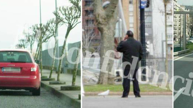 Tres imágenes del seguimiento realizado a un hombre supuestamente relacionado con la operación.