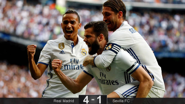 Una final menos, quedan tres: el Madrid golea al Sevilla y sigue soñando con el doblete