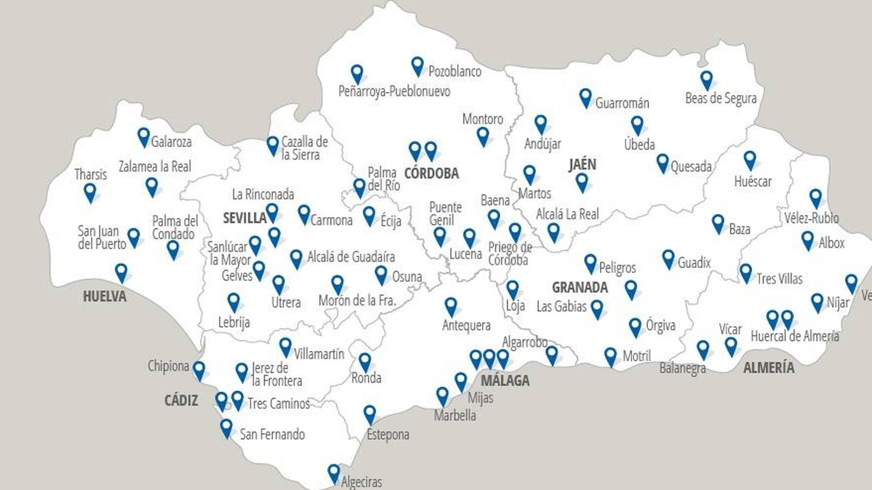 Red de estaciones de ITV de Andalucía. (Veiasa)