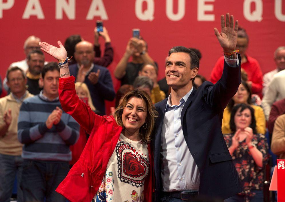 Foto: Susana Díaz y Pedro Sánchez, el pasado 25 de abril en Alcalá la Real, en Jaén. (EFE)