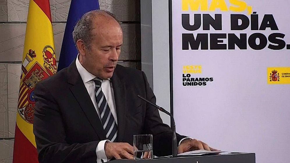 Foto: Juan Carlos Campo, ministro de Justicia, en una rueda de prensa en la Moncloa. (EFE)