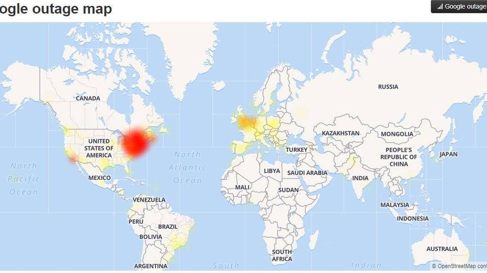 Foto: Mapa de caídas de YouTube y Google. (Downdetector.com)