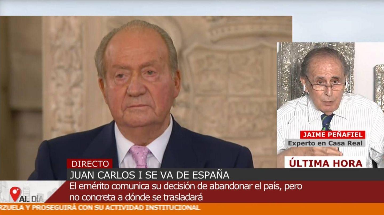 Jaime Peñafiel, en conexión con 'Cuatro al día'. (Mediaset)