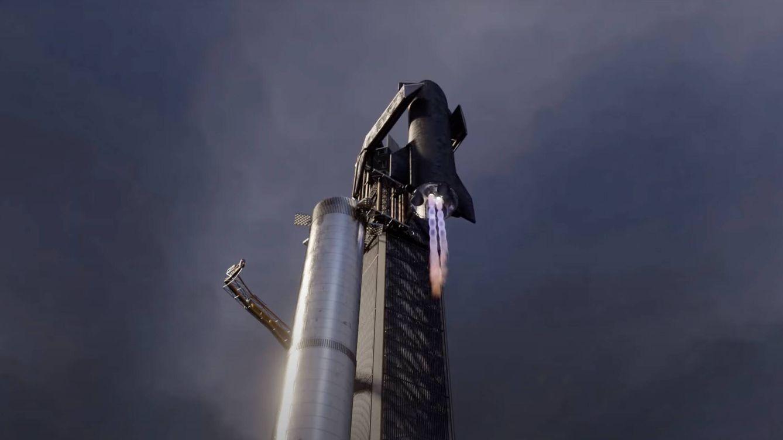 Foto: Elon Musk dice que podrá capturar cohetes en el aire con brazos robots y relanzarlos a las pocas horas como en esta imagen (TijnM_3D)