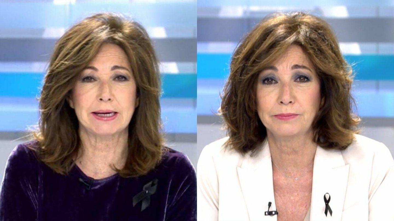Ana Rosa Quintana, antes y después de cortarse el pelo. (Mediaset)
