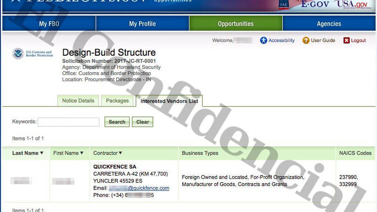 Foto: Quickfence SA aparece en la lista de compañías inscritas en el concurso del Departamento de Seguridad Nacional.