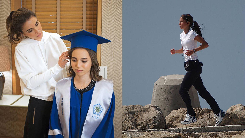 Rania de Jordania con su hija Salma y haciendo running. (Instagram/Gtres)