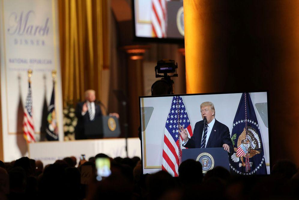 Foto: El presidente Donald Trump durante un discurso en una cena del Comité Nacional Republicano, en Washington, el 21 de marzo de 2017. (Reuters)