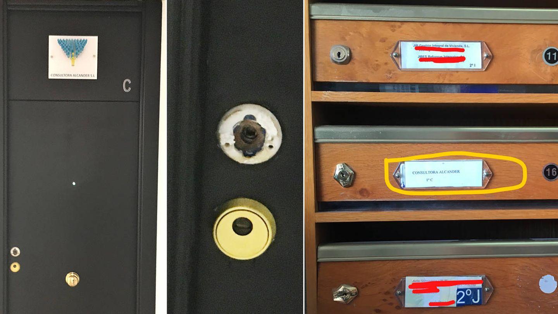 Puerta forzada del despacho de Márquez Cabrera y el buzón de su oficina. (M. García)