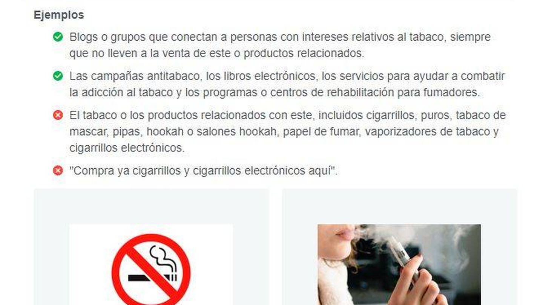 Las reglas de Facebook para empresas prohíben anunciar productos del tabaco. (FB)