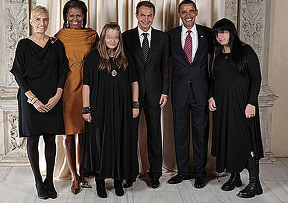 Foto: La familia Rodríguez Zapatero-Espinosa junto a los Obama (i.c.)
