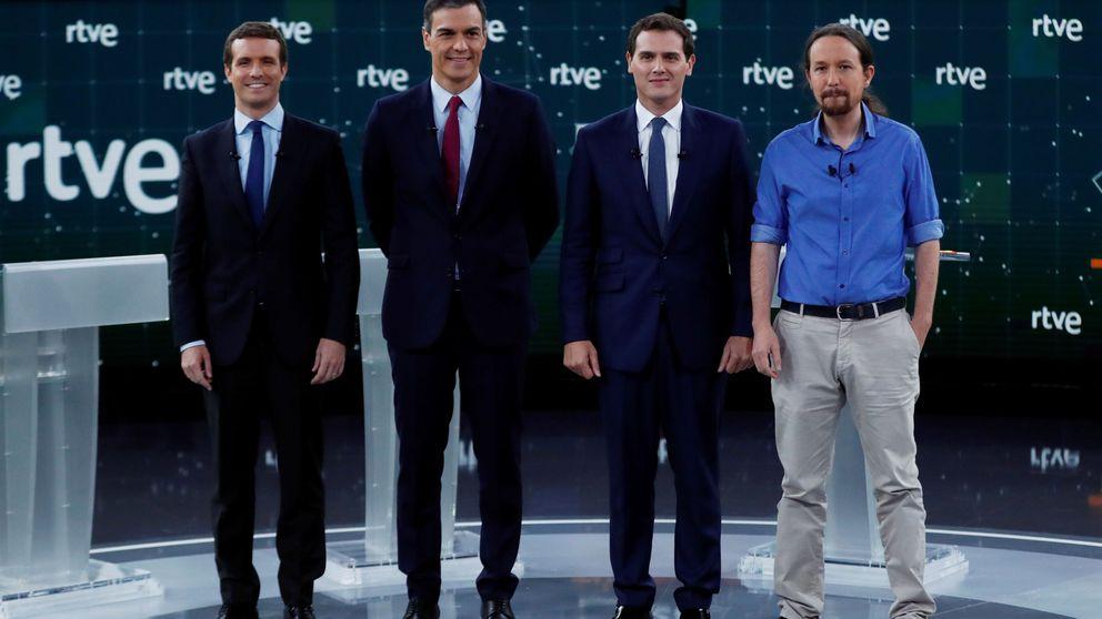 Mentiras y verdades del primer debate entre Sánchez, Casado, Iglesias y Rivera