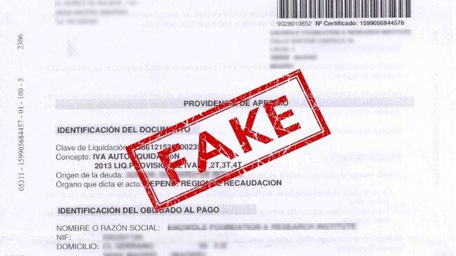 Foto: Montaje de un adjunto enviado en la estafa de suplantación de identidad de la Agencia Tributaria.