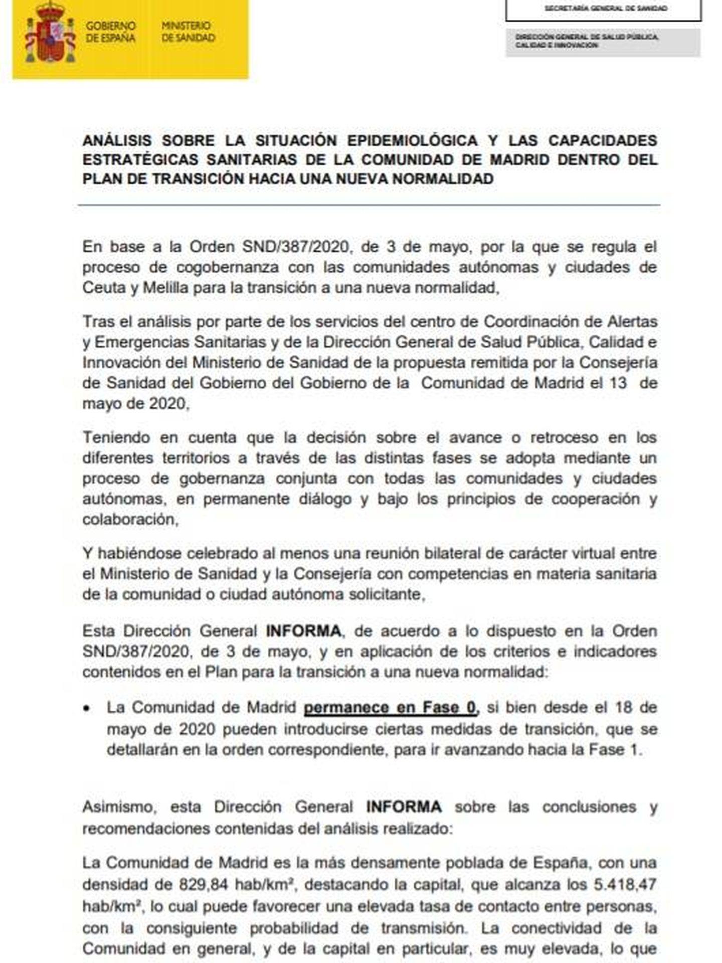 Consulte aquí en PDF el informe del Ministerio de Sanidad sobre la Comunidad de Madrid de 15 de mayo de 2020.