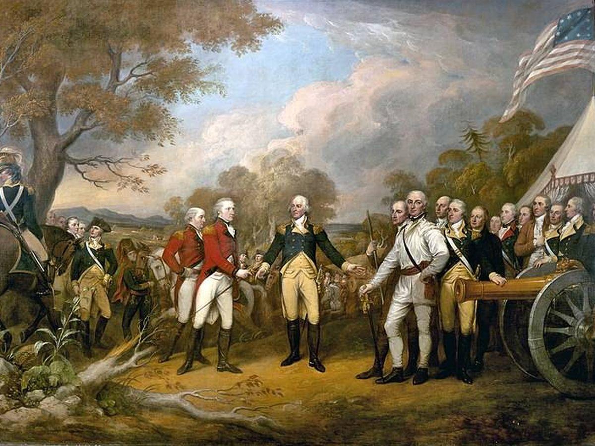 Foto: Cuadro de la escena de la rendición de la batalla de Saratoga por John Burgoyne, 1777. (Wikipedia)