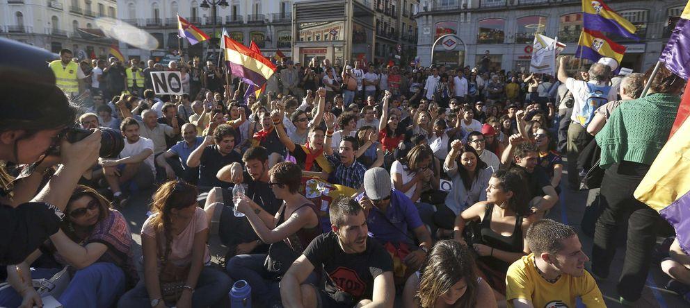 Foto: Manifestación en la Puerta del Sol el pasado 7 de junio para reclamar la instauración de la Tercera República (EFE)