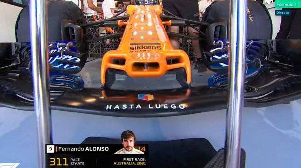 Foto: El mensaje que ha querido dejar Alonso en el morro de su McLaren.