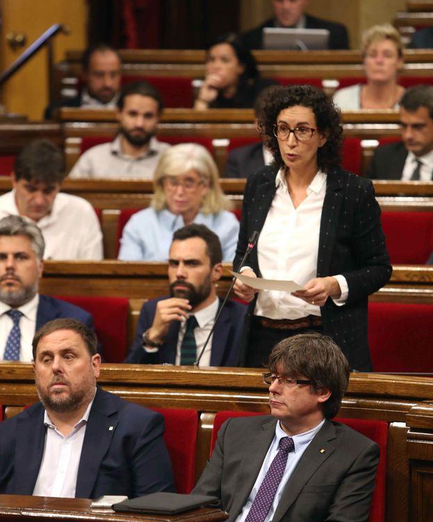 Foto: Oriol Junqueras, junto a Puigdemont y Marta Rovira. (EFE)