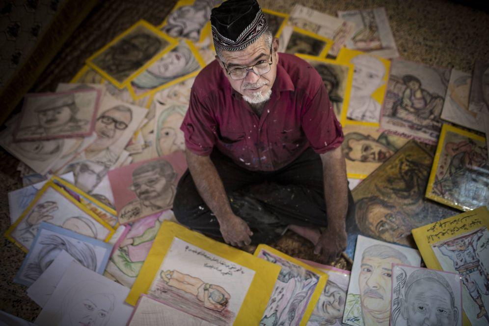 Foto: El dibujante Mustafa Muhammad Amin. (Ethel Bonet)