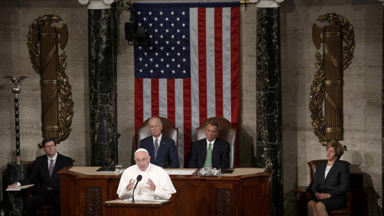 Foto: El Papa Francisco en su discurso en Washington. (Reuters)