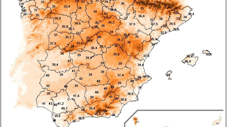 Las temperaturas umbrales de cada estación que sirven para determinar olas de calor (AEMET)