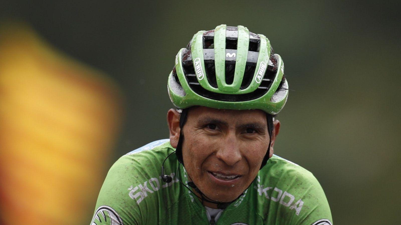 Foto: Nairo Quintana, al término de la etapa de Andorra. (EFE)