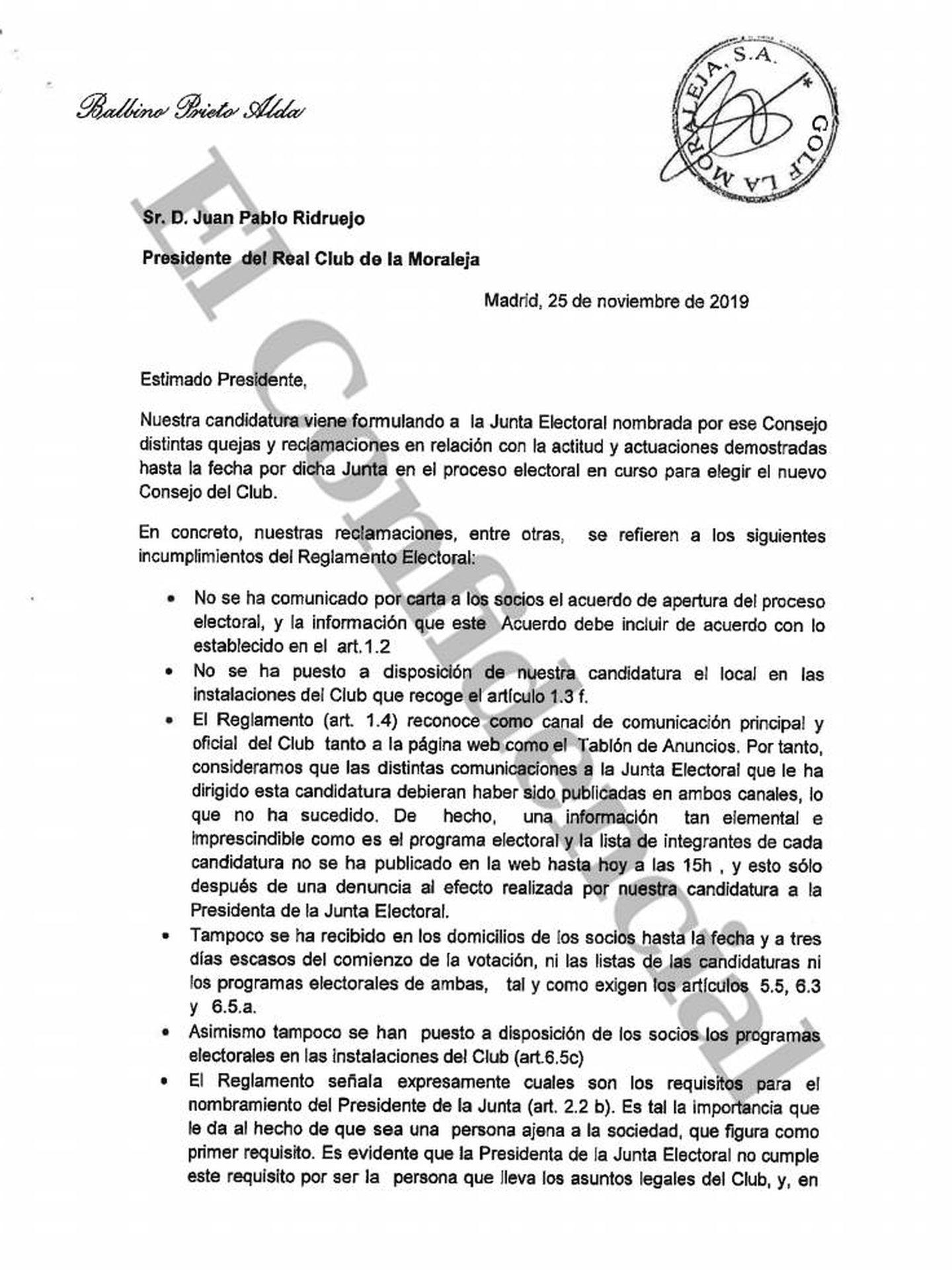 Carta enviada por Balbino Prieto al presidente y candidato, Juan Pablo Ridruejo. (EC)